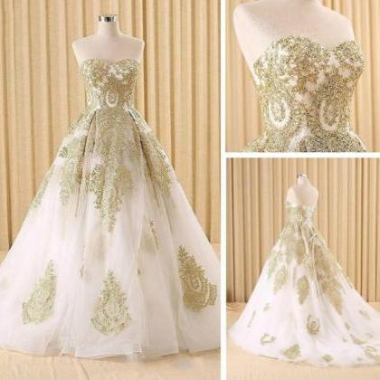 Elegant White and Gold Lace Prom Dr..