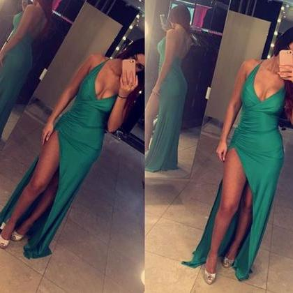 Sexy Sheath Long Prom Dress Backles..
