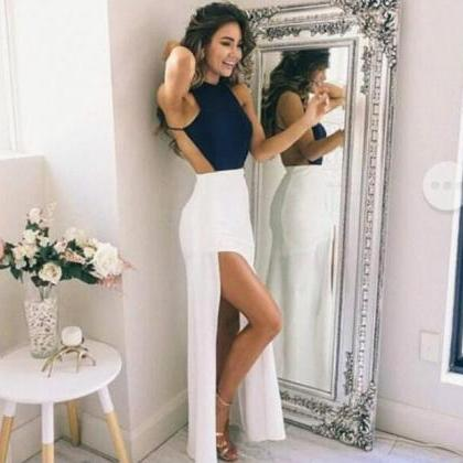 Navy Blue Halter Prom Dress,Long Ch..