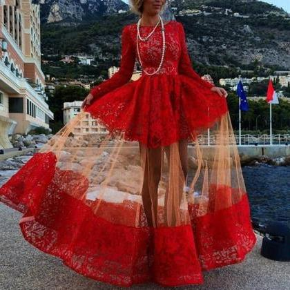 Red Prom Dress,Long Sleeve Prom Dre..