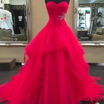 Red Sweetheart Neck Tulle Long Prom..