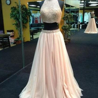 High Neck Prom Dress,Two Pieces Bea..