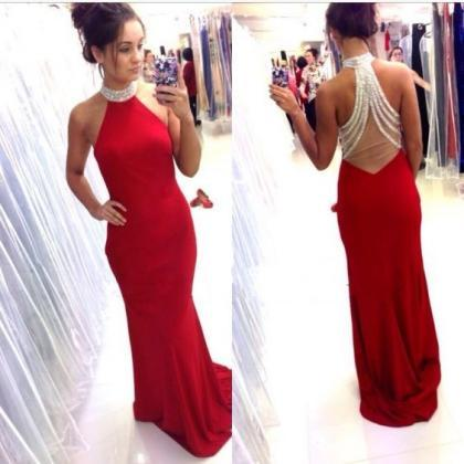 Open Back Red Mermaid Prom Dress,Ha..