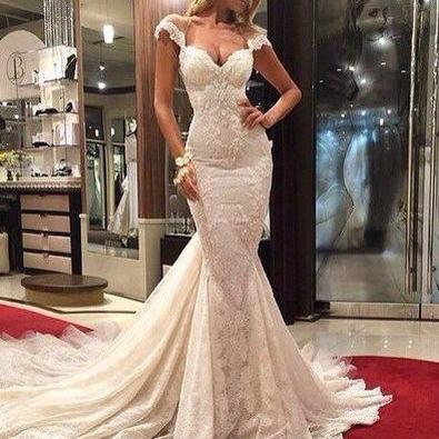 White prom dress,lace prom dress,lo..