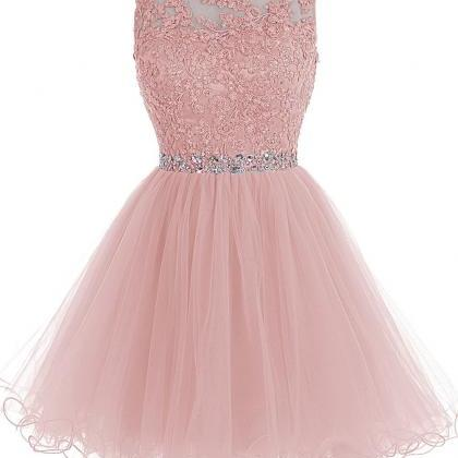 Blush Pink Short Prom Dress, Lace B..