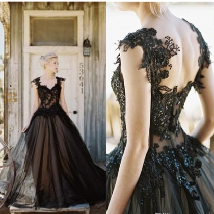 Black Tulle Lace Wedding Dress,Appl..