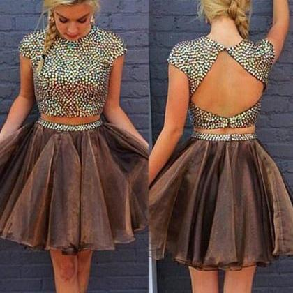 short prom dress, brown, open back,..