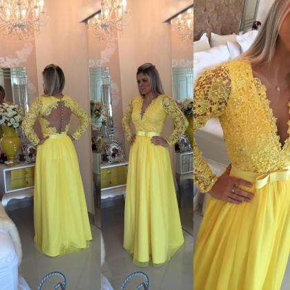 Yellow Prom Dresses,Charming Evenin..