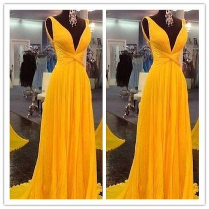 Yellow Prom Dresses,Backless Prom G..