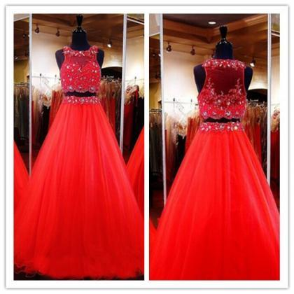 2 Piece Prom Gown,Two Piece Prom Dr..