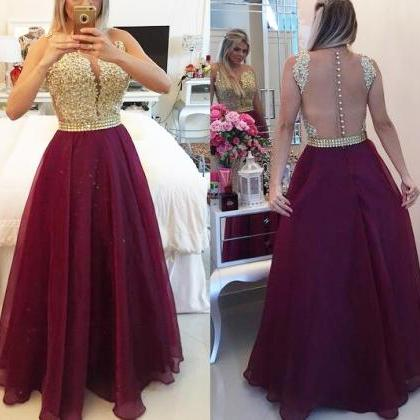 Wine Red Prom Dresses,Charming Even..