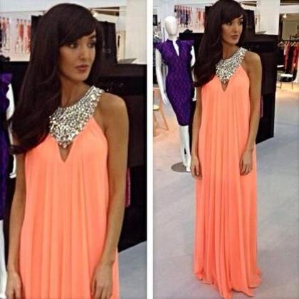 A Line Prom Dresses,Coral Prom Dres..