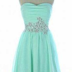 Mint Green Homecoming Dress,Chiffon..