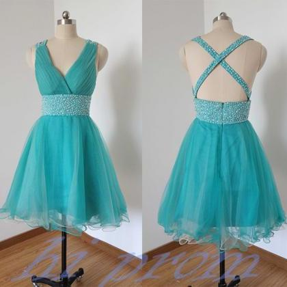 Blue Homecoming Dress,Straps Homeco..