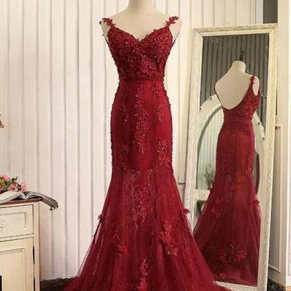 Red Tulle Lace Applique Prom Dress,..