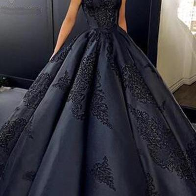 Black satin prom dress,customize A-..