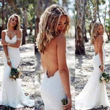 Sexy Backless Lace Wedding Dress Pl..