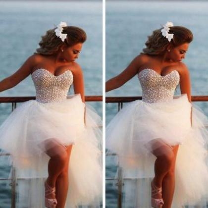 Heavy Pearls Short Wedding Dress,Hi..