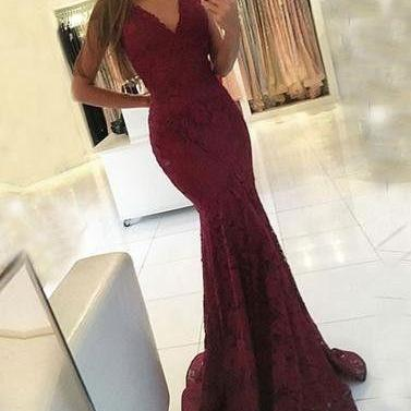 v-neck mermaid burgundy Prom Dress,..