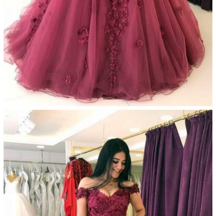 Lace Appliques Prom Dresses, Ball G..