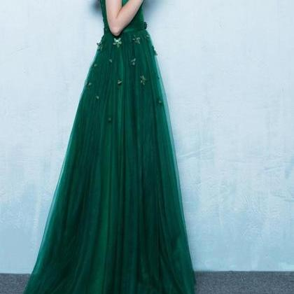 Green Off Shoulder Prom Dress,Lace ..