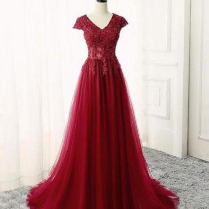 Burgundy v neck lace long prom dres..