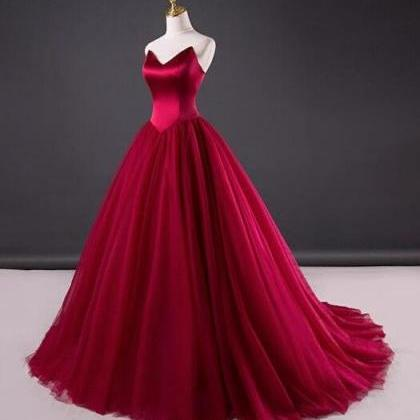 Simple Red Wedding Dress,Tulle Brid..