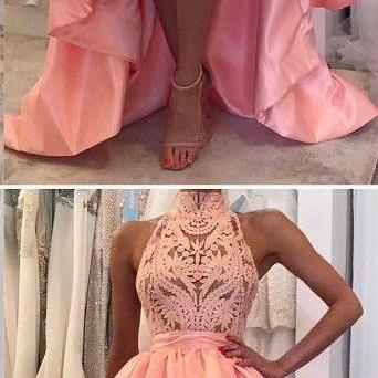 High Neck Lace Long Prom Dress, Sex..