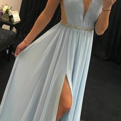 elegant v neck prom dress,simple pr..