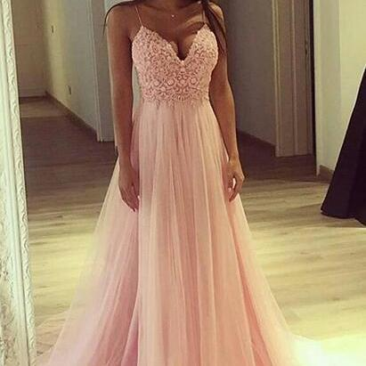 Spaghetti Straps Light Pink Prom Dr..