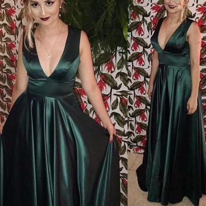 Charming Dark Green Satin Prom Dres..
