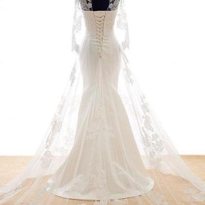 Mermaid Lace Tulle Wedding Dress ,C..