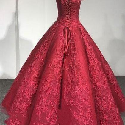 Burgundy lace Wedding Dress,Ball Go..