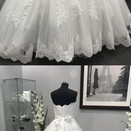Lace Appliques Crystal Wedding Dres..