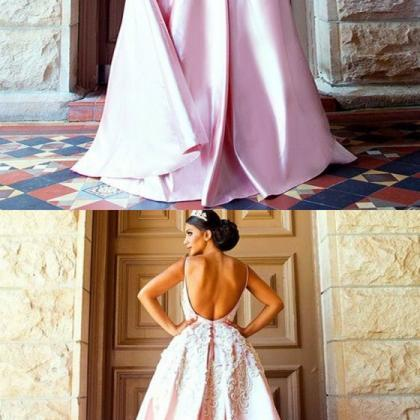 modest pink backless long prom dres..