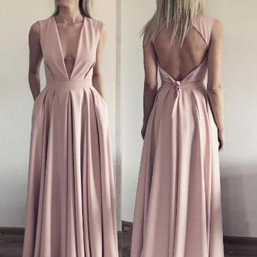 A Line Evening Dress, Open Back Eve..