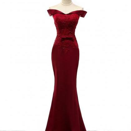 Burgundy Prom Dresses,Mermaid Prom ..