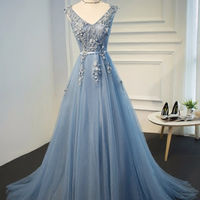 Charming Prom Dress,Blue Evening Gowns Dresses Plus Size Tulle Appliques Long Formal Dresses V Neck Lace Up Sleeveless Robe De SoireeA