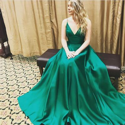 Sexy A Line Prom Dress,v neck long green satin ball gowns prom dresses