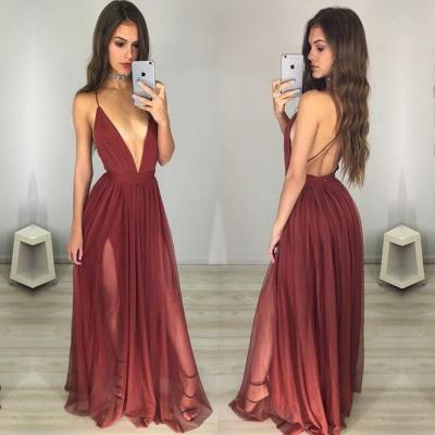 Prom Dress,Sexy Elegant Maroon Prom Dress - Deep V-neck Long Ruched Backless,Cheap Prom Dress,Formal Dress, Sexy Gril Dress, Floor-Length Prom Dresses, Evening Dresses, Custom Dress