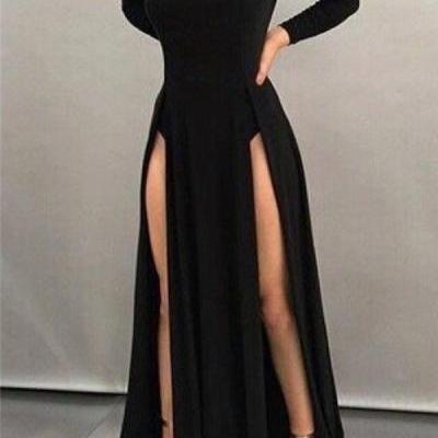 Prom Dresses,Black Sheath High-neck Front-splits Sleeves Long Sexy Evening Dresses