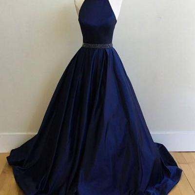 Charming Prom Dress,Sexy Prom Dress, Simple Halter Prom Dresses,Sleeveless Evening Dress,Elegant Dark Blue Evening Dresses,Formal Gown