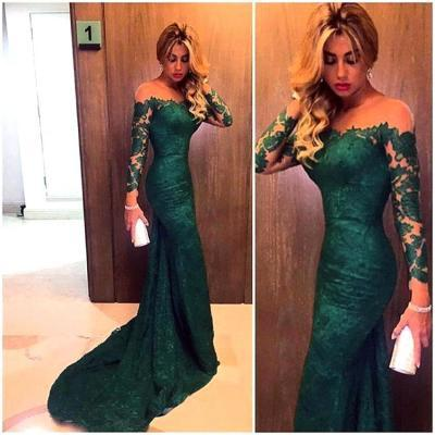 Green Lace Long Sleeve Mermaid Prom Dresses Sexy Sheer Emerald Formal Evening Gown Party Dress Custom Make