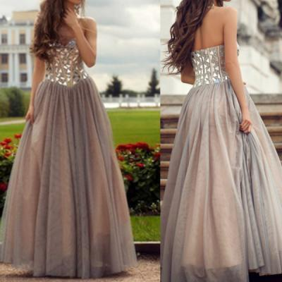 Handmade Grey Prom Dresses, Rhinestones A-Line Sweetheart Prom Dress,Neckline Floor Length Prom Dress Party Dress