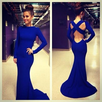 Royal Blue Mermaid Prom Dress,Top Selling Long Sleeves Prom Dresses,Open Back High Neck Trumpet Long Sexy Prom Dresses Sweep Train Evening Dress Prom Graduation Dress Bridesmaid Dresses Celebrity Dress