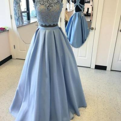Two Piece Sky Blue Prom Dress, Two Piece Sky Blue Long Prom Dresses