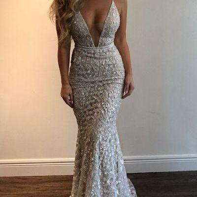 Mermaid Prom Dress,Prom Dresses Stunning Prom Dress,Spaghetti Straps Evening Dress,Beading Party Dress,Prom Dresses,V-neck Prom Dress,Sexy Evening Dress,Prom Dress