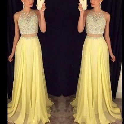 Yellow long prom dress,elegant A-line 2 pieces long prom gown,graduation dress,formal dress