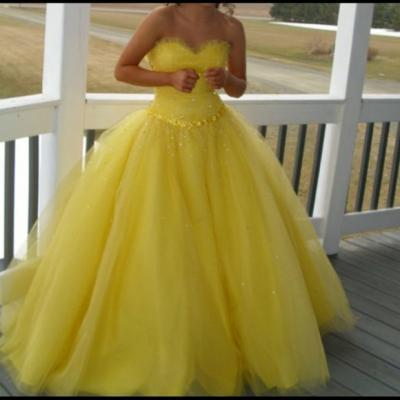 Tulle Prom Dresses,Yellow Prom Dress,Modest Prom Gown,Ball Gown Prom Gowns,Fitted Evening Dress,Princess Evening Gowns,2016 Party Gowns,Corset Prom Gowns,Fitted Evening Dress