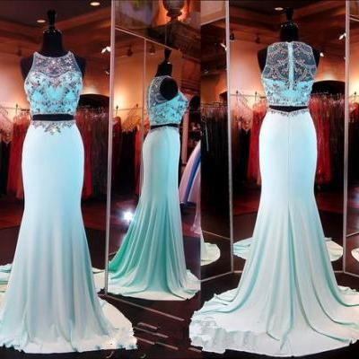 2 Piece Prom Gown,Two Piece Prom Dresses,Evening Gowns,2 Pieces Party Dresses,Sexy Evening Gowns,Sparkle Formal Dress For Teens
